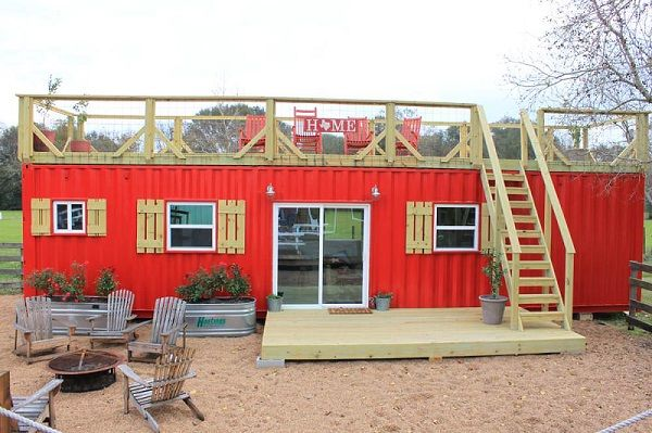 Container tiny house rouge
